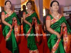 dk aruna in green paithani silk saree