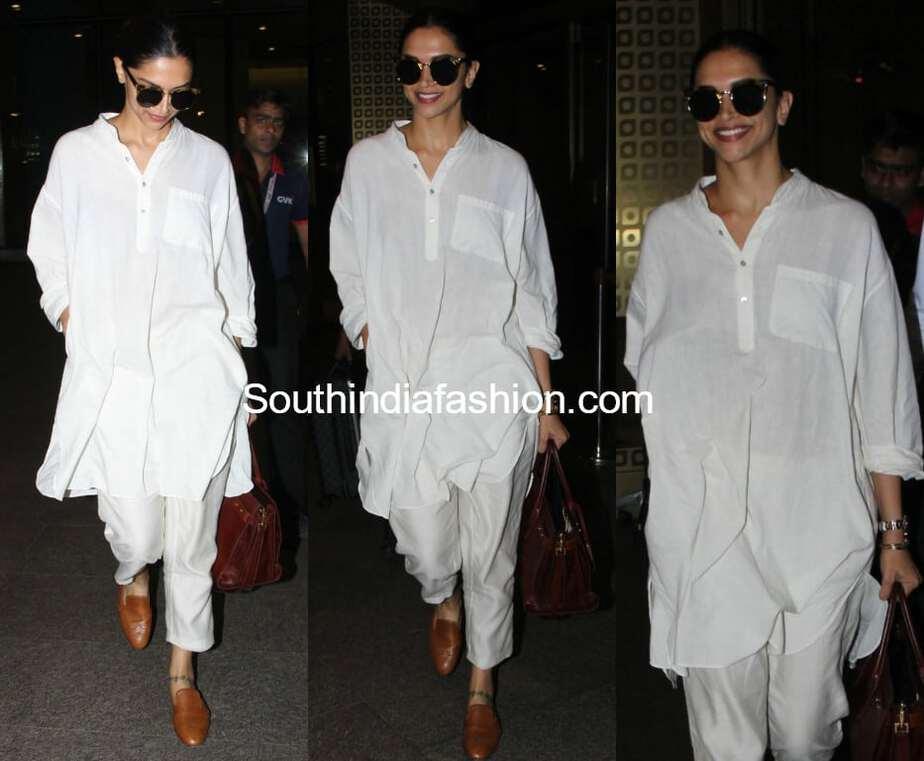 deepika padukone airport look white kurti and pants