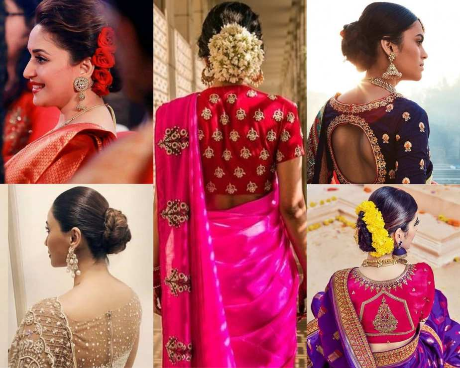 Amazing Ways To Wear Hair Buns With Traditional Sarees
