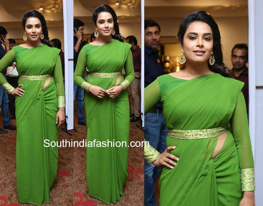 hari teja green saree with belt