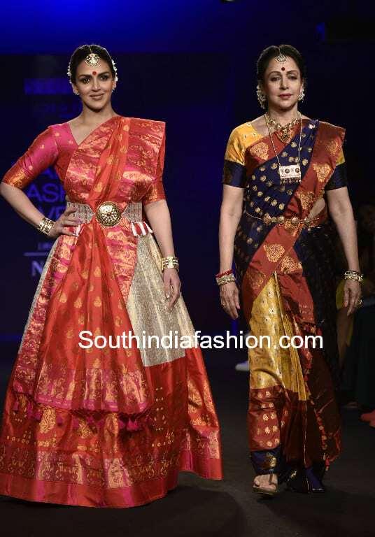 hema malini and esha deol in mekhela chadors by sanjukta dutta at lakme fashion week 2018