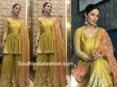 hina khan green sharara kalki fashion