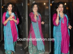 janhvi kapoor pink and blue palazzo suit