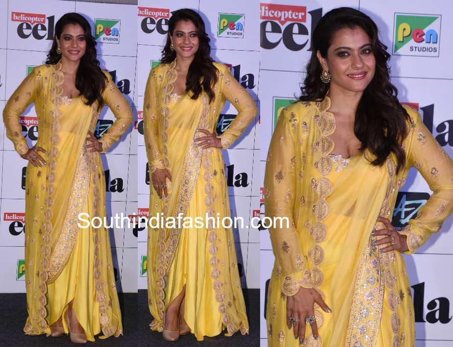 kajol anamika khanna yellow jacket saree at helicopter eela trailer launch