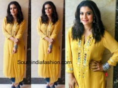 kajol in yellow kurta for helicopter eela promotions