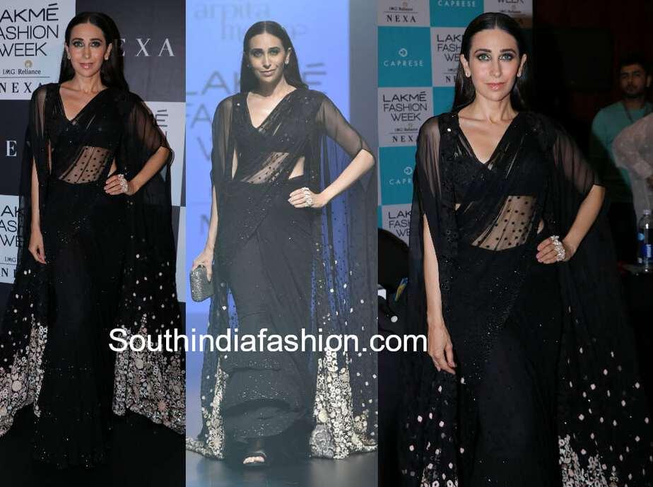 karisma kapoor black saree arpita mehta lakme fashion week 2018