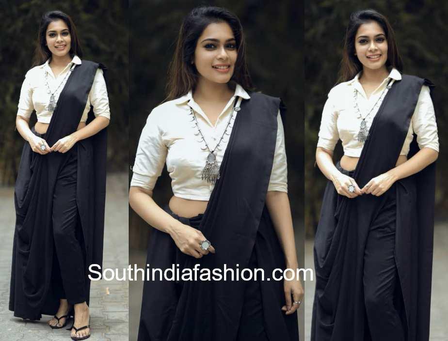 kiki vijay in black pant saree