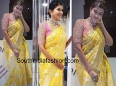 lakshmi manchu yellow banaras silk saree