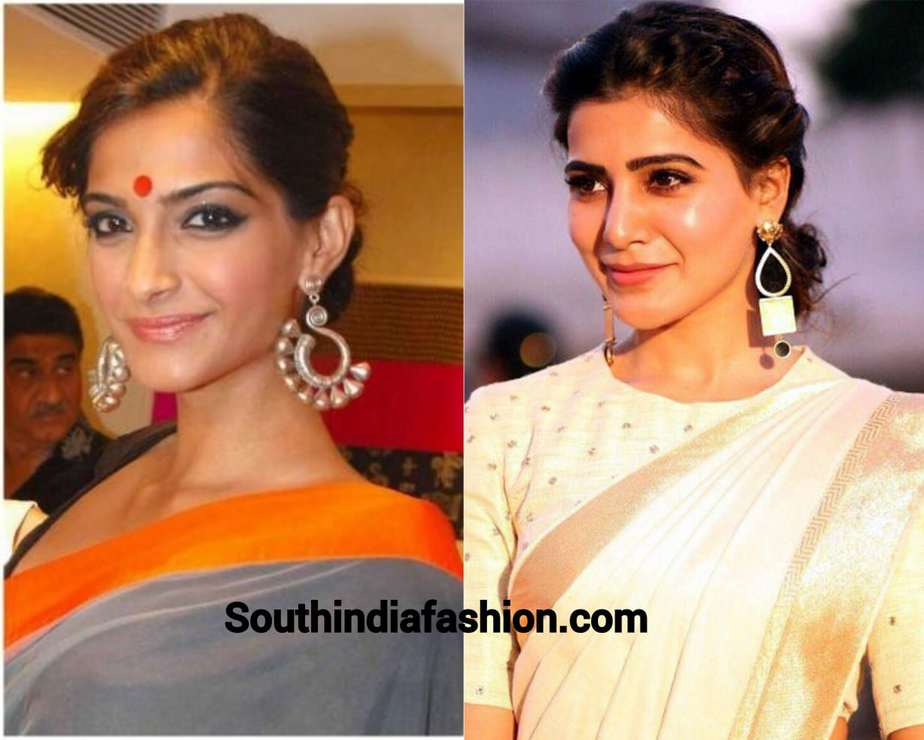 large earrings with saree