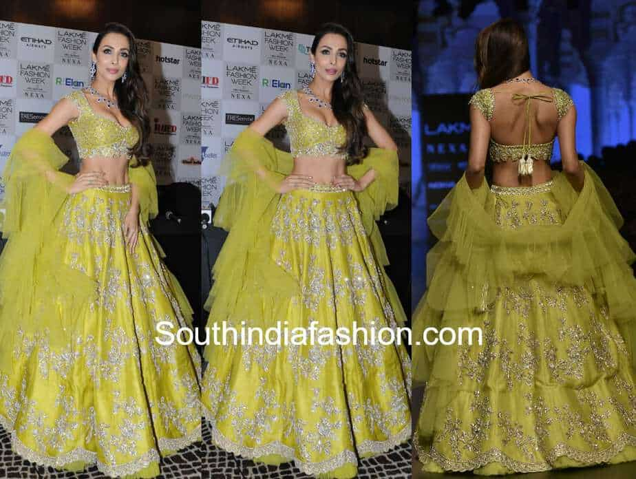 malaika arora in green lehenga by anushree reddy at lakme fashion week