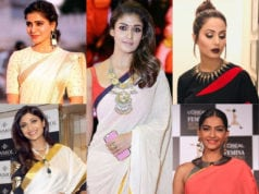 modern jewelry with traditional saree