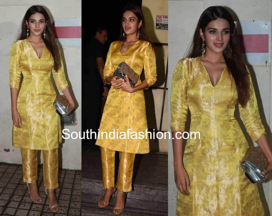 nidhii agerwal in yellow brocade kurta for stree screening