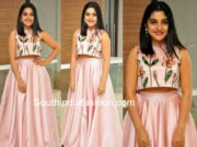 nivetha thomas long skirt crop top neevevaro audio launch