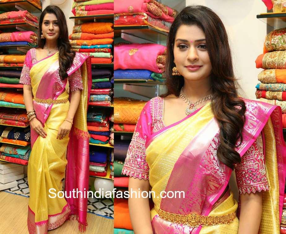 payal rajput in gold silk saree at shop opening