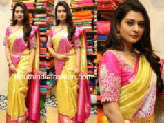payal rajput in gold pattu saree
