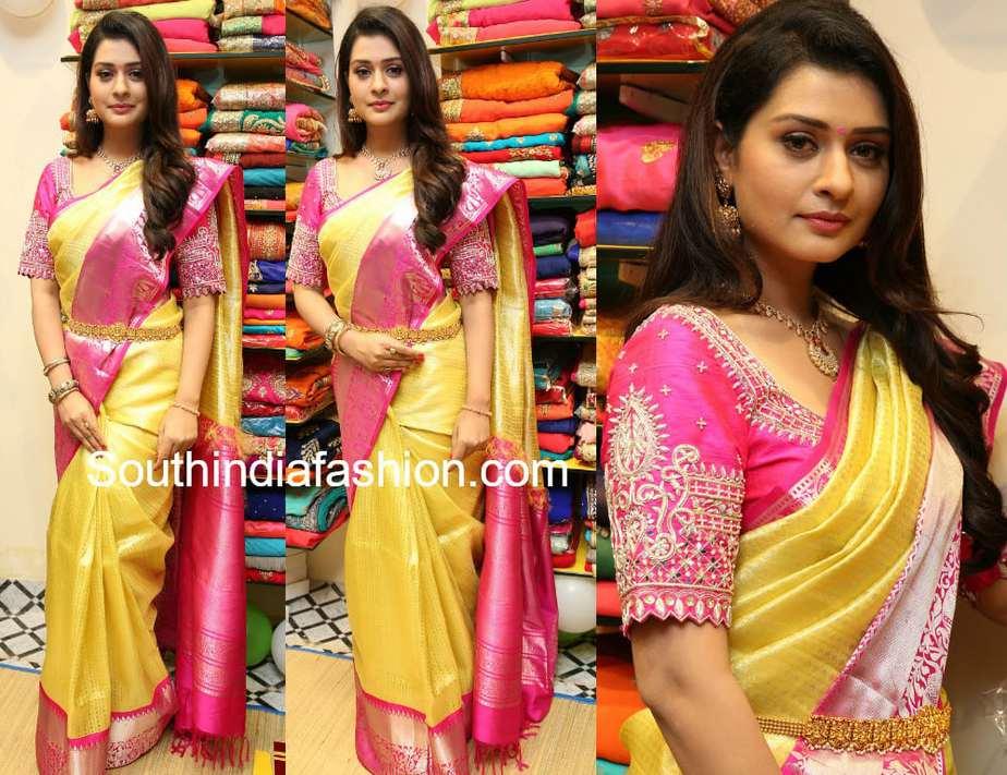 payal rajput in gold pattu saree