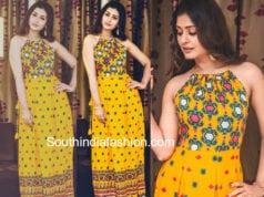 payal rajput yellow maxi dress