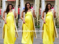 pregnant neha dhupia yellow maxi dress