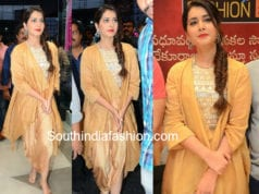 raashi khanna gold dress srinivasa kalyanam promotions