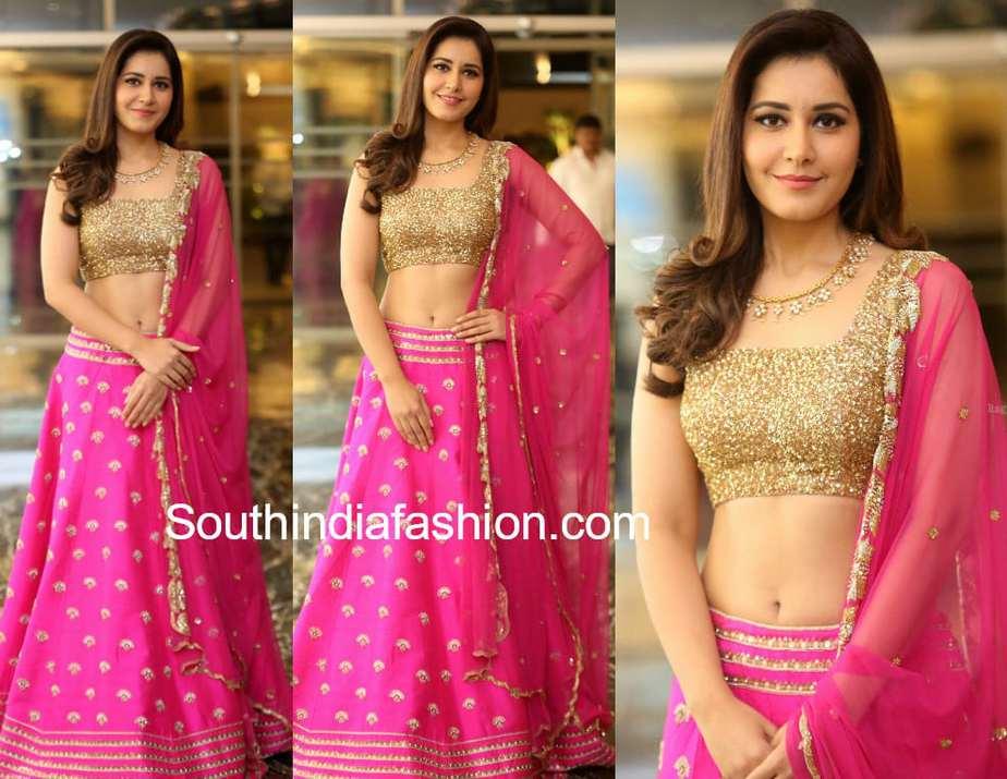 raashi khanna in pink lehenga at srinivasa kalyanam success meet