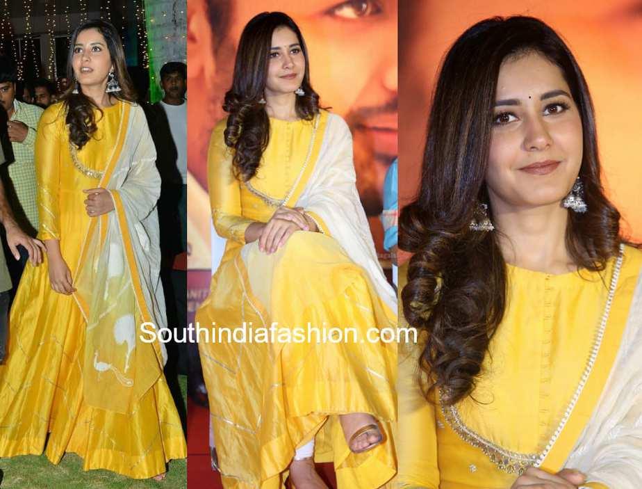 raashi khanna in yellow anarkali at srinivasa kalyanam press meet
