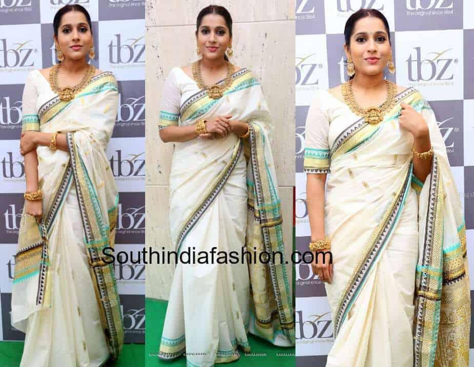 rashmi gautam white saree tbz collection launch