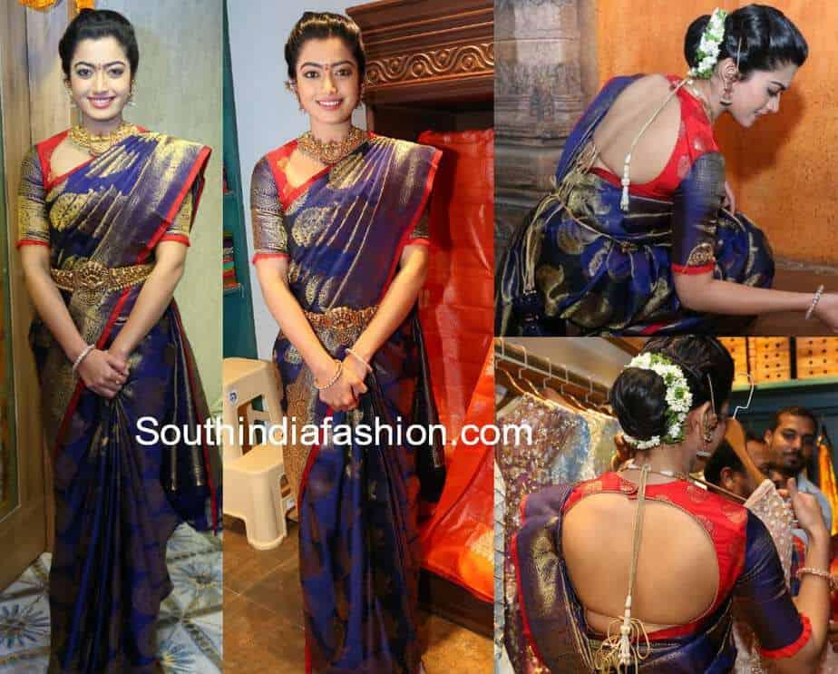 rashmika mandanna blue kanjeevaram saree mugdha store launch