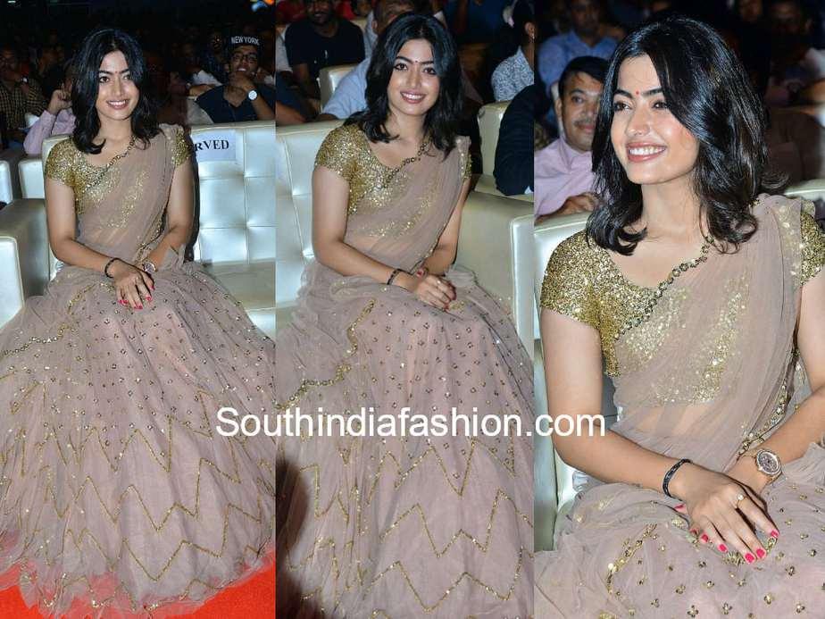 Rashmika Mandanna In A Half Saree At Geetha Govindam Pre Release