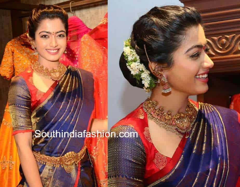 rashmika mandanna blue pattu saree mugdha store launch