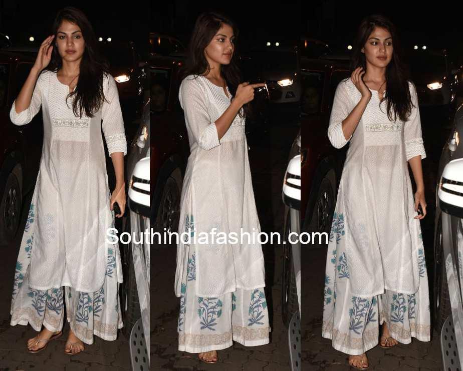 rhea chakraborty white palazzo suit