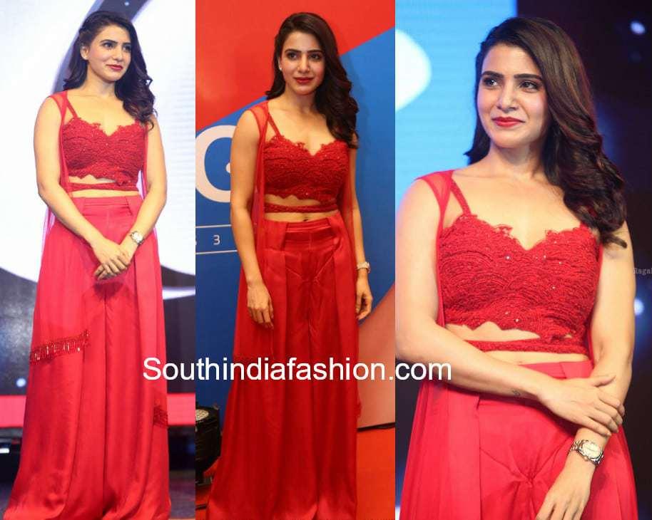samantha akkineni red dress big c press meet