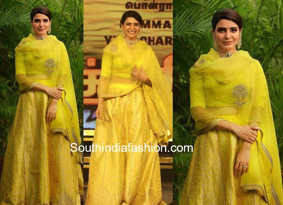 samantha akkineni in yellow lehenga at seemaraja audio launch