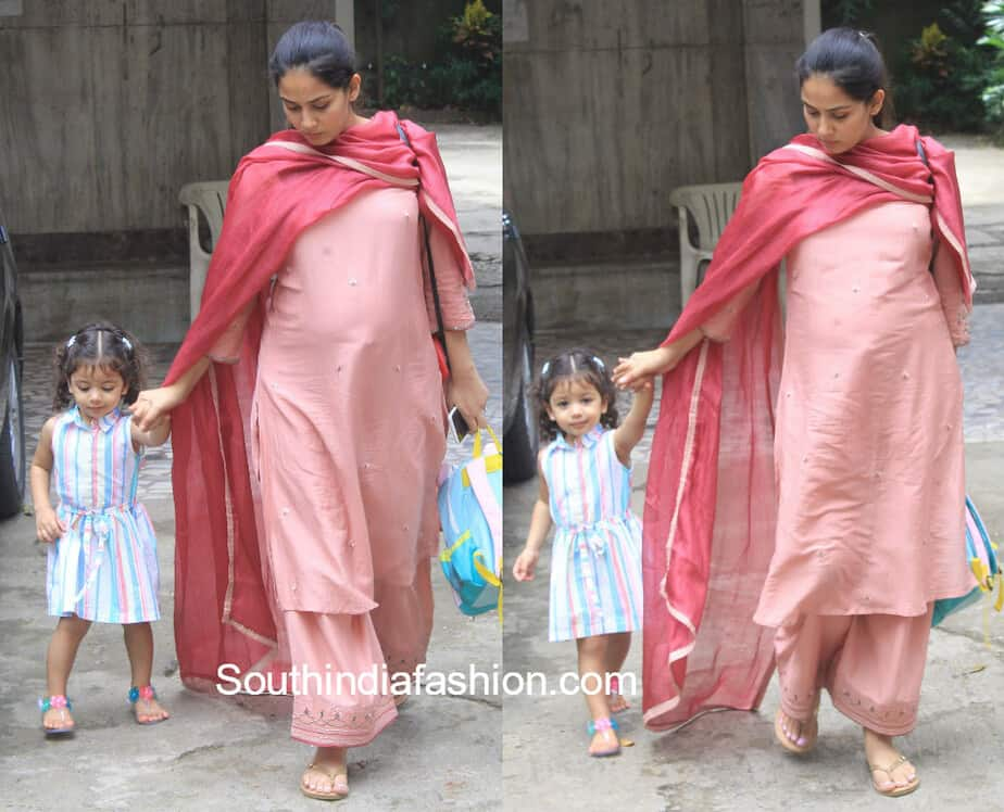 mira rajput picking misha from school