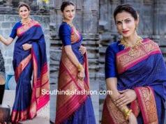 shilpa reddy blue saree