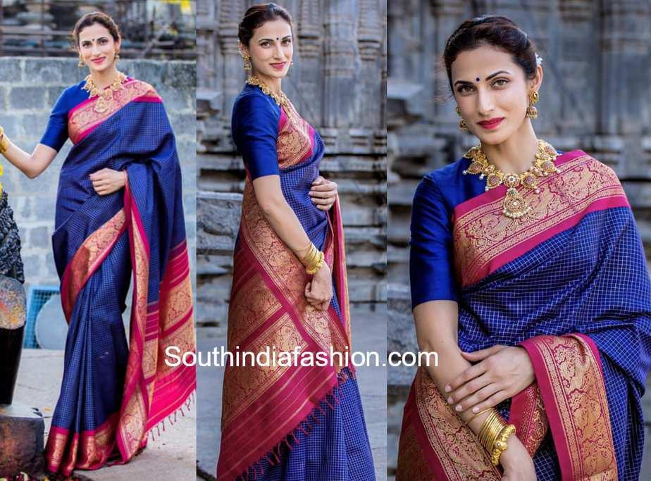 f19b56e3c466e1 Shilpa Reddy in a traditional saree – South India Fashion