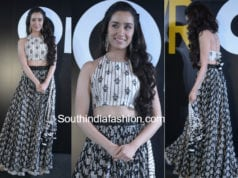 shraddha kapoor lomng skirt crop top stree promotions