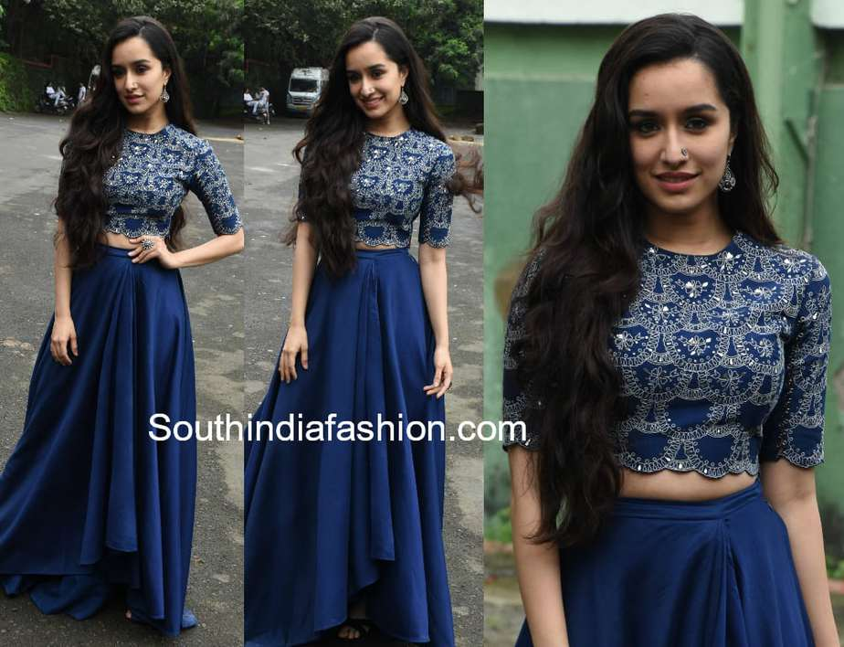 e24bd4d32b4ab Shraddha Kapoor Blue Skirt Crop Top Stree Promotions. Shraddha Kapoor In Am  Pm For Stree Promotions South India Fashion