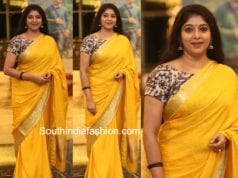 sithara yellow saree kalamkari blouse