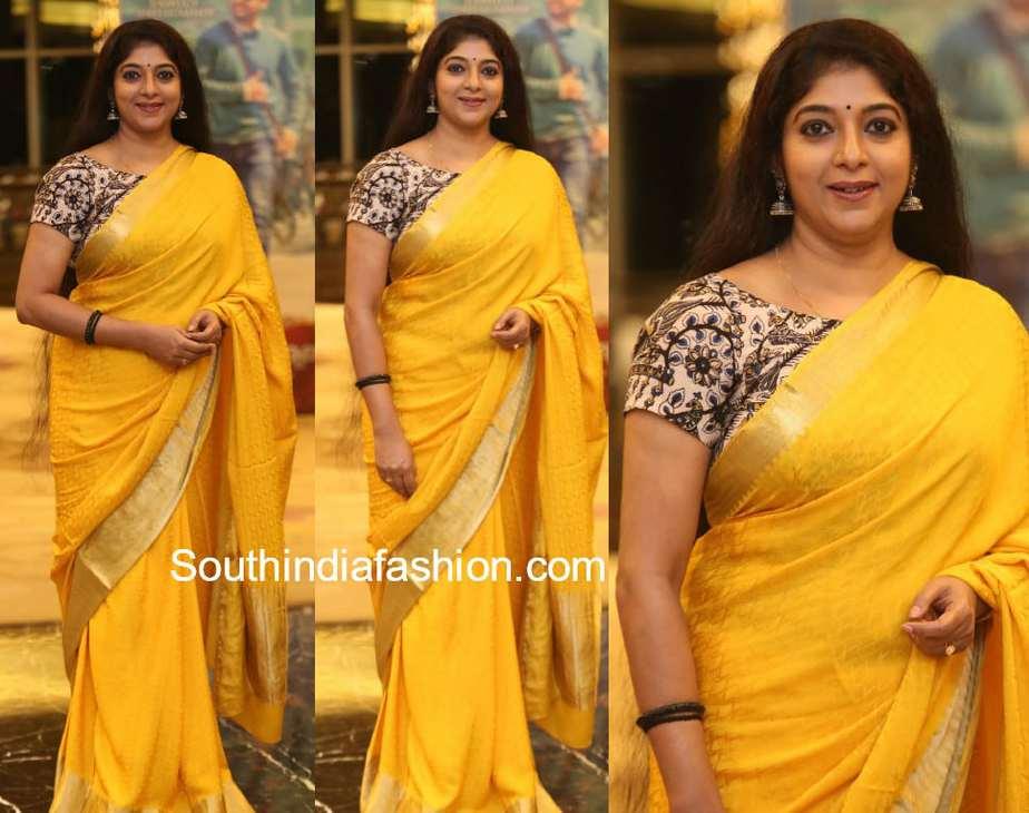 sithara yellow saree kalamkari blouse