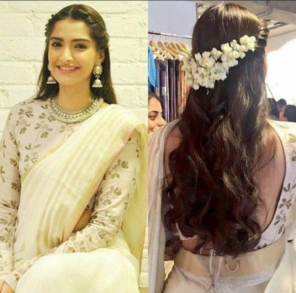 sonam kapoor flower hairstyle