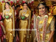 south indian bride in gold pattu saree