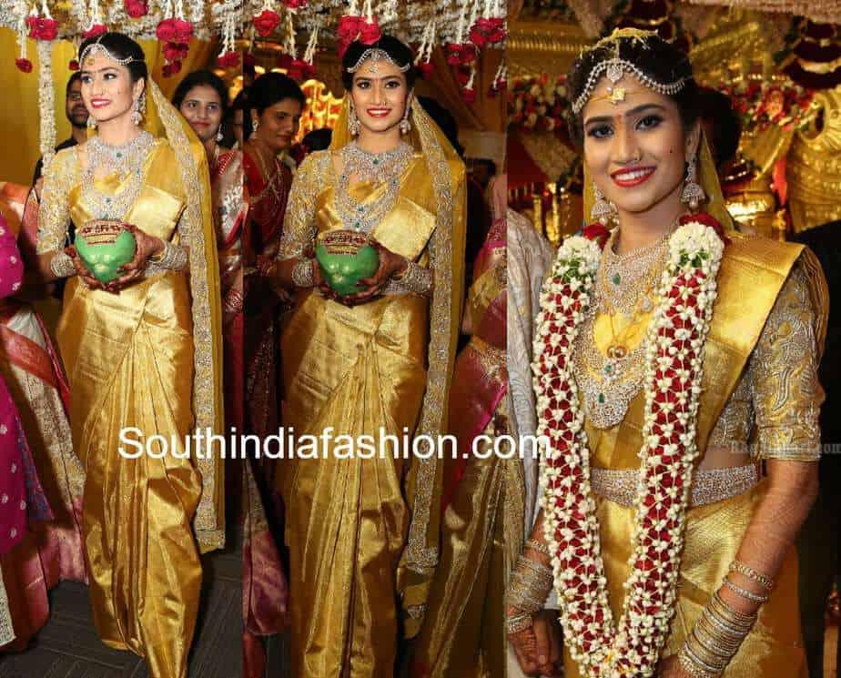 south indian bride in gold pattu saree