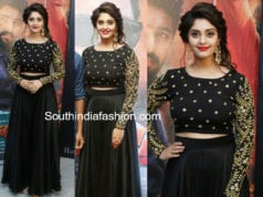surbhi black long skirt crop top andagathey audio launch