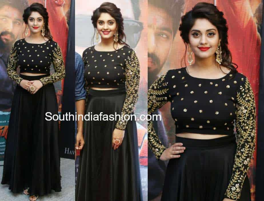 surbhi black long skirt crop top andagathey audio launch