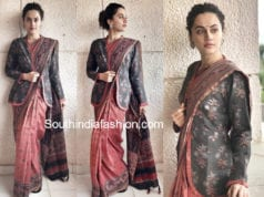 taapsee pannu saree with jacket mulk screening