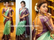yamini bhaskar in mint green kanjeevaram saree at mugdha store launch