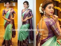 yamini bhaskar in mint green kanjeevaram saree at mugdha store launch