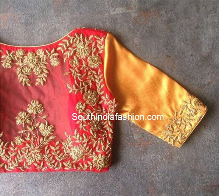 zardosi work blouse for silk sarees