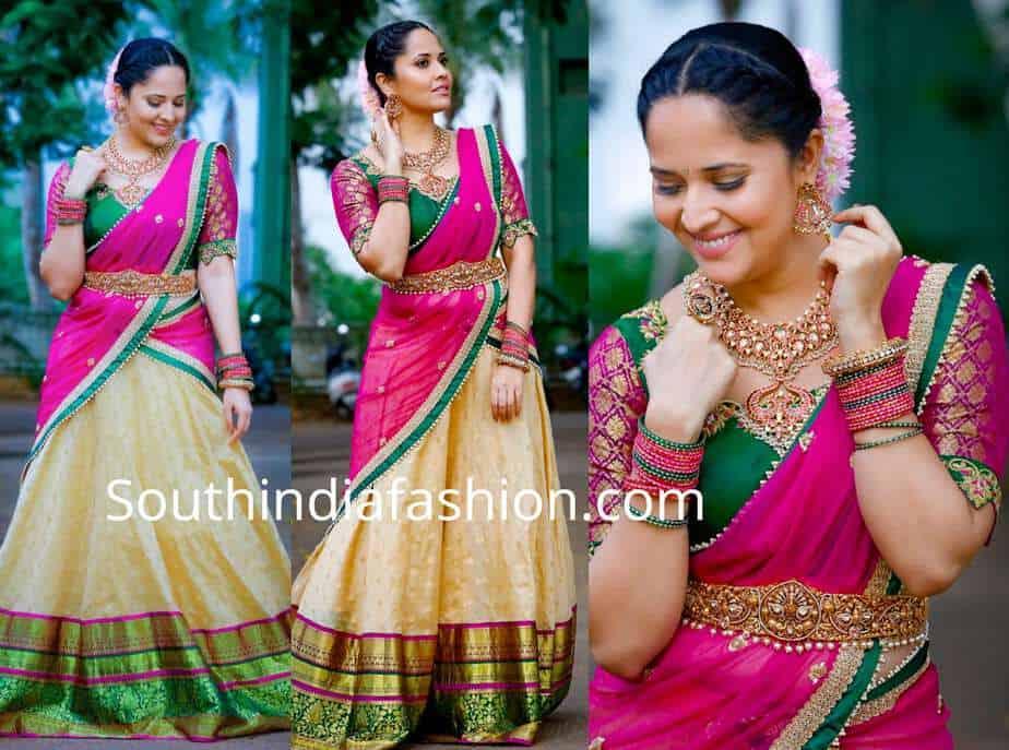 anchor anasuya half saree jabardast tv show ganesh chaturthi