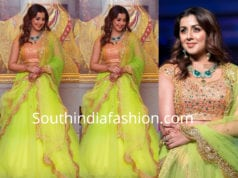 nikki galrani green lehenga madras bridal fashion show